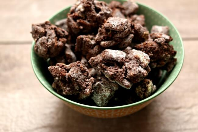 Chunky Muddy Buddies--do you love chex muddy buddies but wish there were more of the stuck together chunks? I prefer my muddy buddies this way too and have tweaked the recipe so that it's basically all chunks. More peanut butter, more chocolate, more deliciousness.