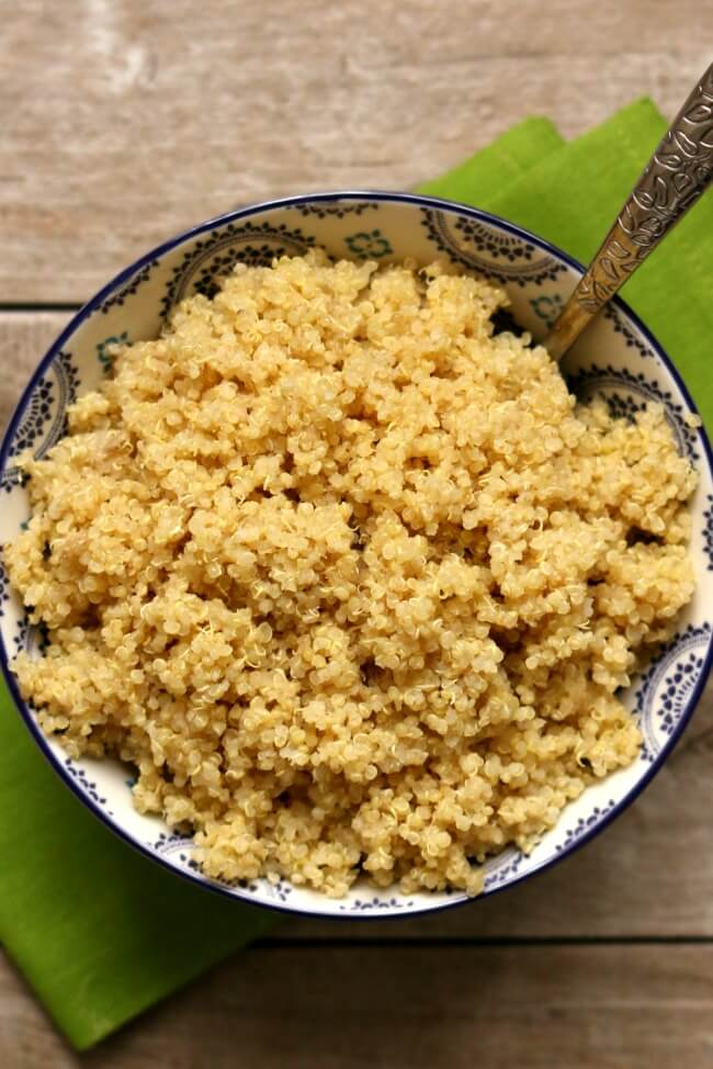 Slow Cooker Quinoa--quinoa is so easy to make in your slow cooker! There's no babysitting or boiling over. Make a big batch of quinoa and store the leftovers in the fridge for various meals during the week!