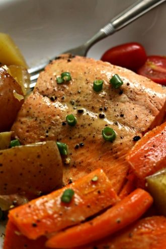 Instant Pot Lemon Butter Garlic Salmon with Homestyle Vegetables