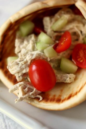 Slow Cooker Creamy Greek Chicken Pitas
