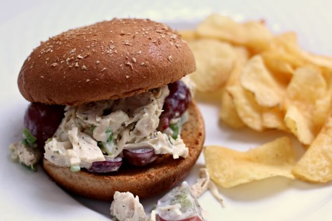 Instant Pot Chicken Salad Sandwich--chicken is pressure cooked quickly and then tossed with the best chicken salad dressing to make a fantastic topping for a bed of lettuce, a bun or croissant.