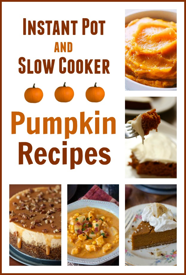 Instant Pot and Slow Cooker Pumpkin Recipes--Love all things pumpkin? Love your slow cooker and your Instant Pot? Then I've got some recipes for you! Here are 11 pumpkin recipes that you can make with your crockpot or your electric pressure cooker. Bring on fall!
