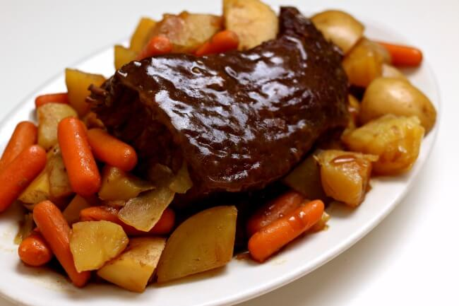 ISlow Cooker 3-Ingredient Rump Roast--an easy beginner recipe for the slow cooker. Beef pot roast is cooked until tender in your crockpot. If desired you can also make carrots and potatoes with the roast.