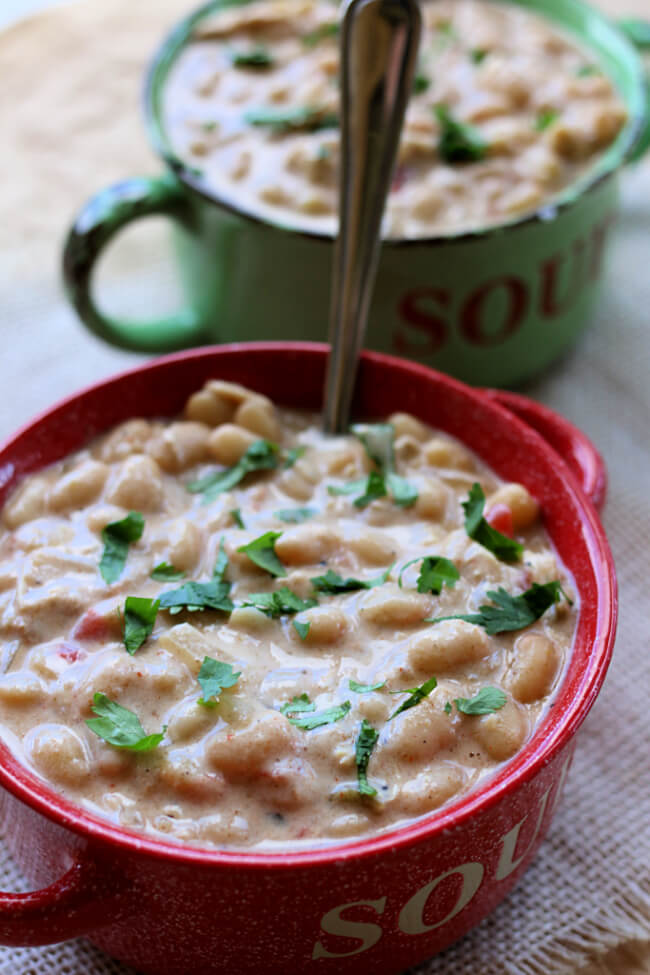 Homemade White Chili (Instant Pot or Slow Cooker)--Make white chicken chili from scratch using dried beans and tender chicken breasts. It's thick and creamy and comforting. Although this recipe is homemade it's made quickly in your Instant Pot or your slow cooker.