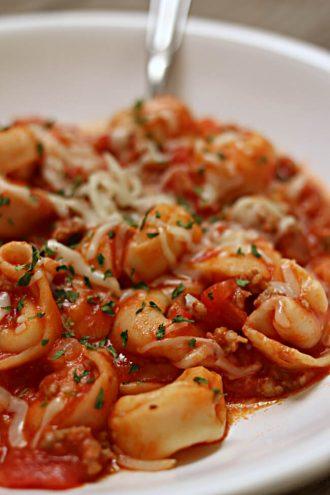 Slow Cooker Italian Sausage Tortellini