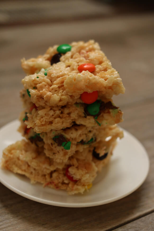Instant Pot Rice Krispy Treats --use your Instant Pot's saute function to quickly make a double batch of rice krispy treats. Stir in some m&ms to make them even better.