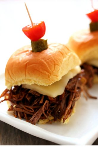 Instant Pot BBQ Brisket Sliders