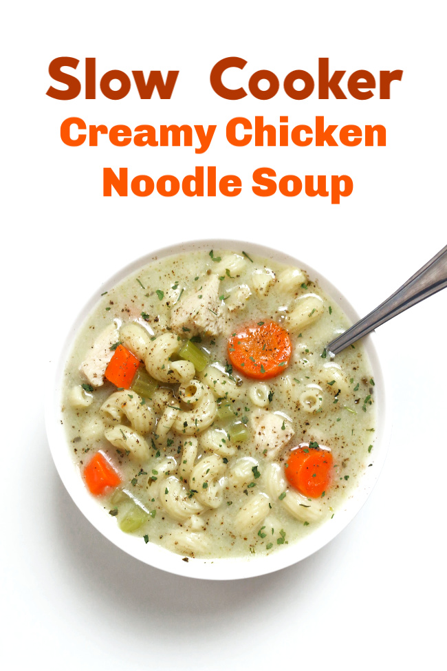 Slow Cooker Creamy Chicken Noodle Soup--An easy and creamy chicken noodle soup recipe that is perfect for a cold day. And it's under 300 calories per serving!