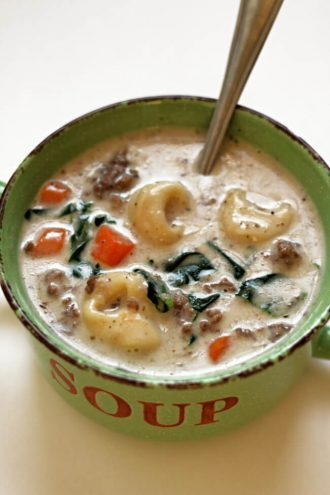 Instant Pot Creamy Hamburger Tortellini Soup