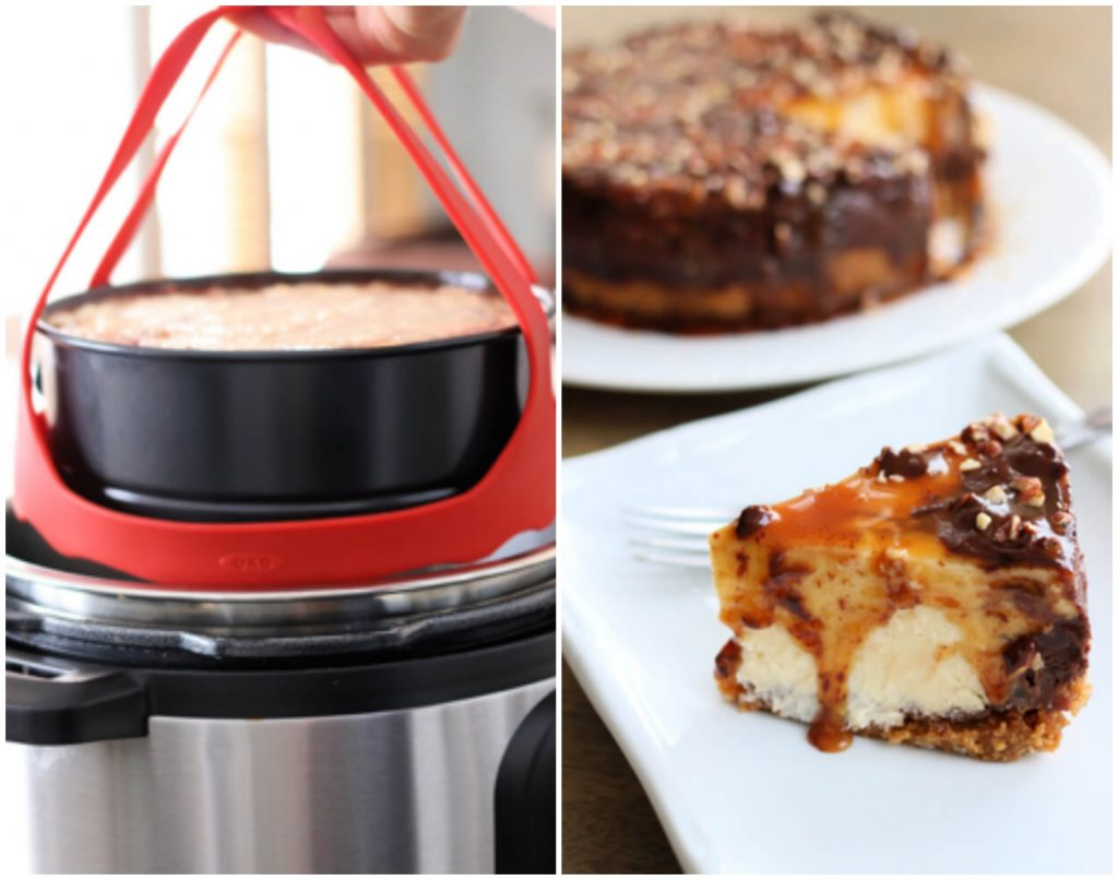 Pressure Cooker Turtle Cheesecake is a decadent cheesecake made with a graham cracker crust and plenty of pecans, caramel and chocolate. It's baked in your electric pressure cooker to ensure consistent results every time.
