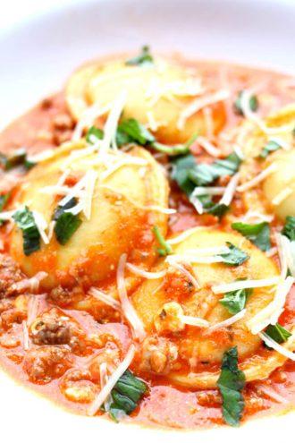 Slow Cooker Lasagna Ravioli