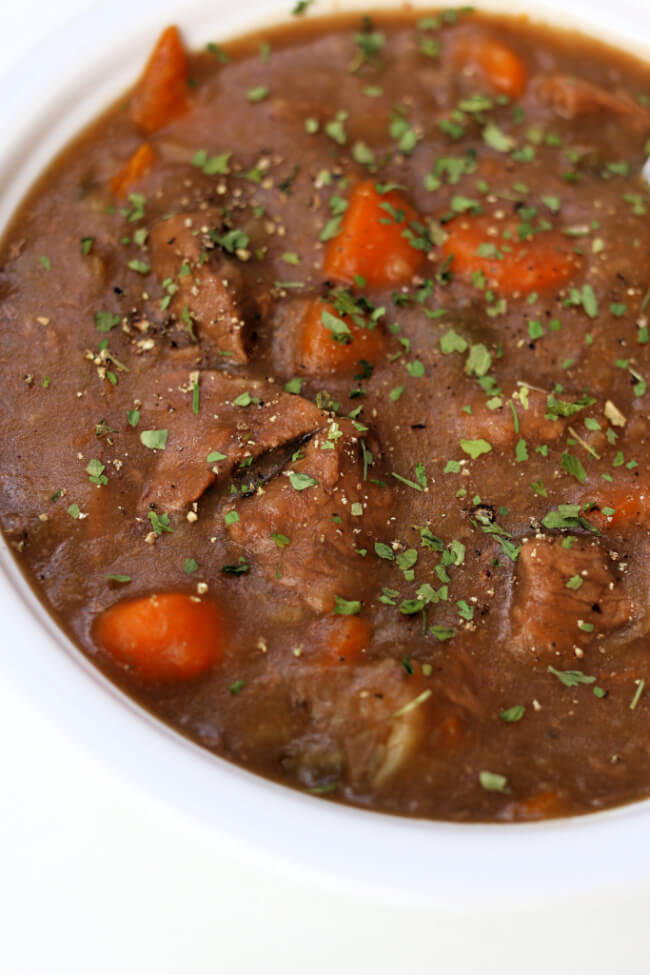 Instant Pot Cheater Beef Stew--if you're looking for the easiest beef stew recipe you may have found it! This recipe is made quickly in your Instant Pot and requires little to no prep and only 5 ingredients. No sauteing, chopping or browning. And best of all it tastes great!