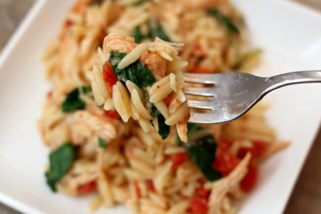 Instant Pot Chicken Spinach Parmesan Orzo--a one pot meal with chicken, pasta, tomatoes, spinach and parmesan cheese.