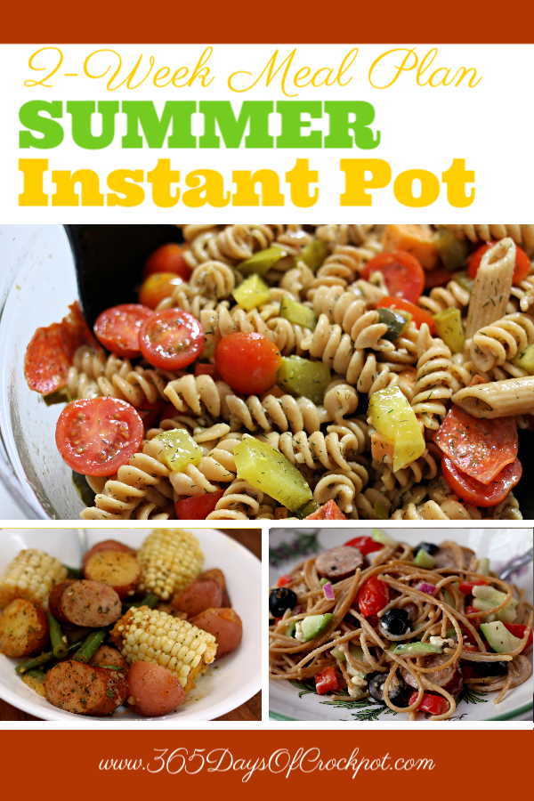 Cooking in the summer can be rough! Beat the heat this summer and use your Instant Pot to help prepare dinner. Here is a 2-week summer Instant Pot meal plan to get you through July and into August.