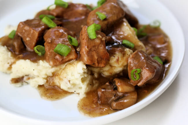 Instant Pot Beef and Gravy--tender bites of beef with mushrooms served with a savory gravy. Serve over mashed potatoes, egg noodles or rice.