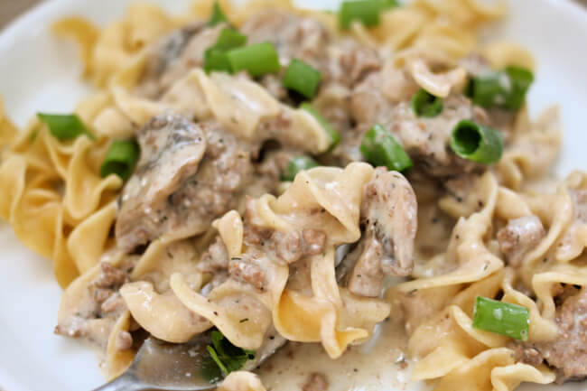 Slow Cooker Ground Beef Stroganoff--a creamy mushroom sauce with ground beef served over egg noodles. An easy recipe to make that uses common ingredients and it's delicious to eat.