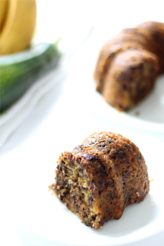 Instant Pot Chocolate Chip Zucchini Banana Bread--a moist quick bread (cake?) that is a cross between banana and zucchini bread. The bonus is that it's got mini chocolate chips too and it's made in your electric pressure cooker.