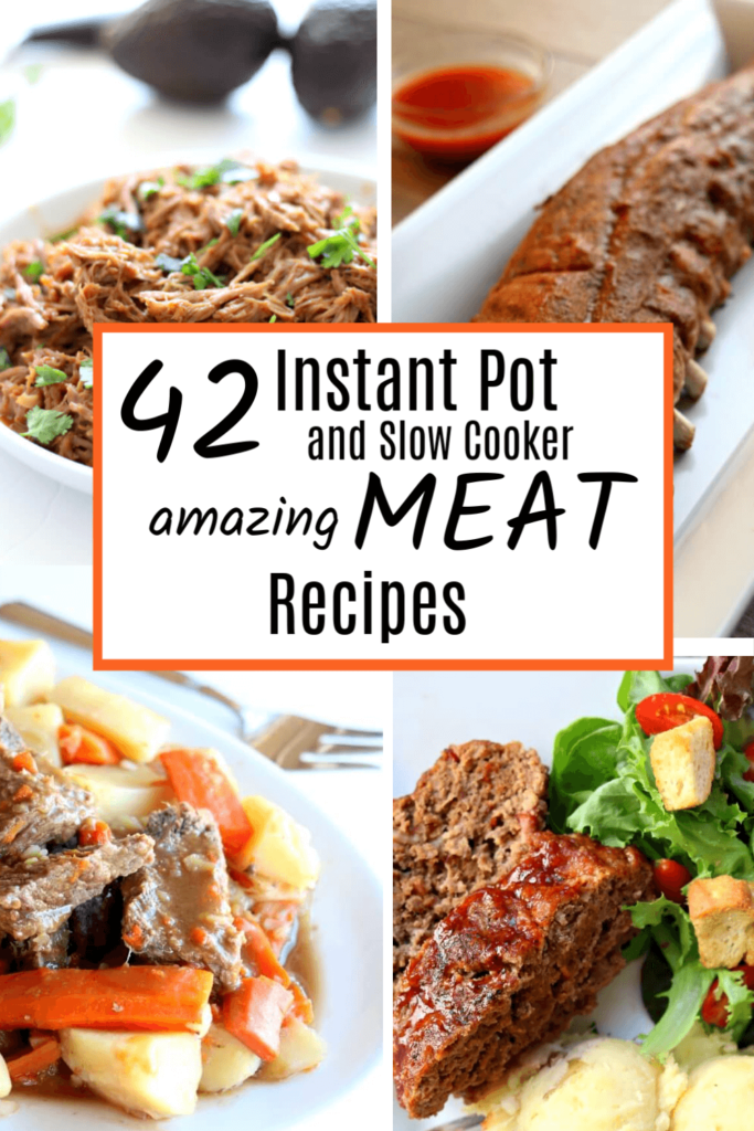 Are you a meat lover? You're really going to enjoy these 42 Instant Pot and Slow Cooker Meat Recipes. Plus because they are made in the slow cooker or Instant Pot they are all fairly easy to make!