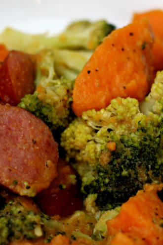 Instant Pot Sausage, Sweet Potatoes and Broccoli