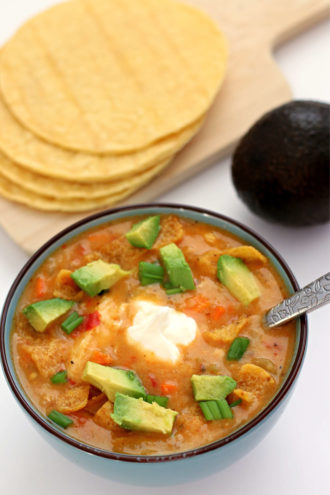 Slow Cooker Chicken Tortilla Soup (with actual tortillas!)