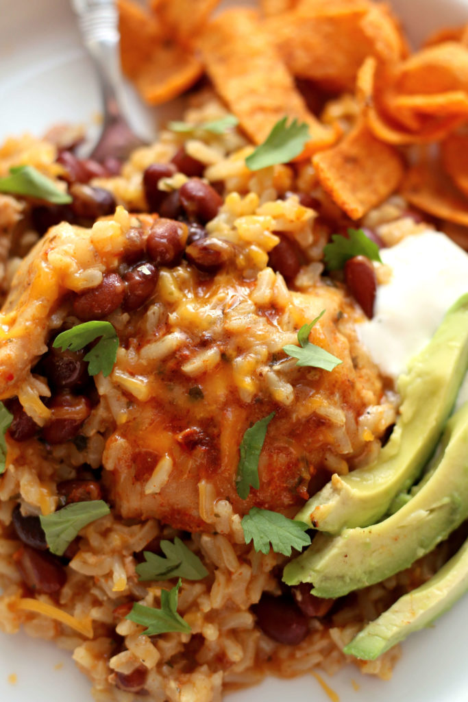 Instant Pot Ranch Chicken Taco Rice--An easy 5-ingredient dump and press start recipe for the Instant Pot. Rice, chicken and black beans with lots of flavor.