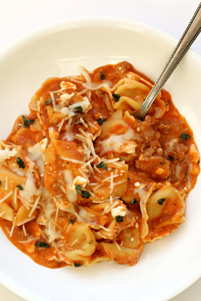 Easy Instant Pot Tortellini Lasagna--delicious flavors of lasagna with hardly any of the work. This recipe is fast and easy and tastes so good! It will quickly become a family favorite.