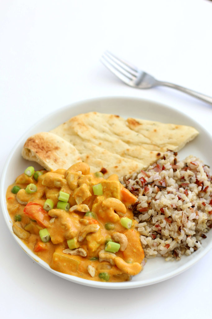 Instant Pot Chicken Veggie Korma--a rich and creamy mild curry-like dish  with tender bites of chicken and vegetables.