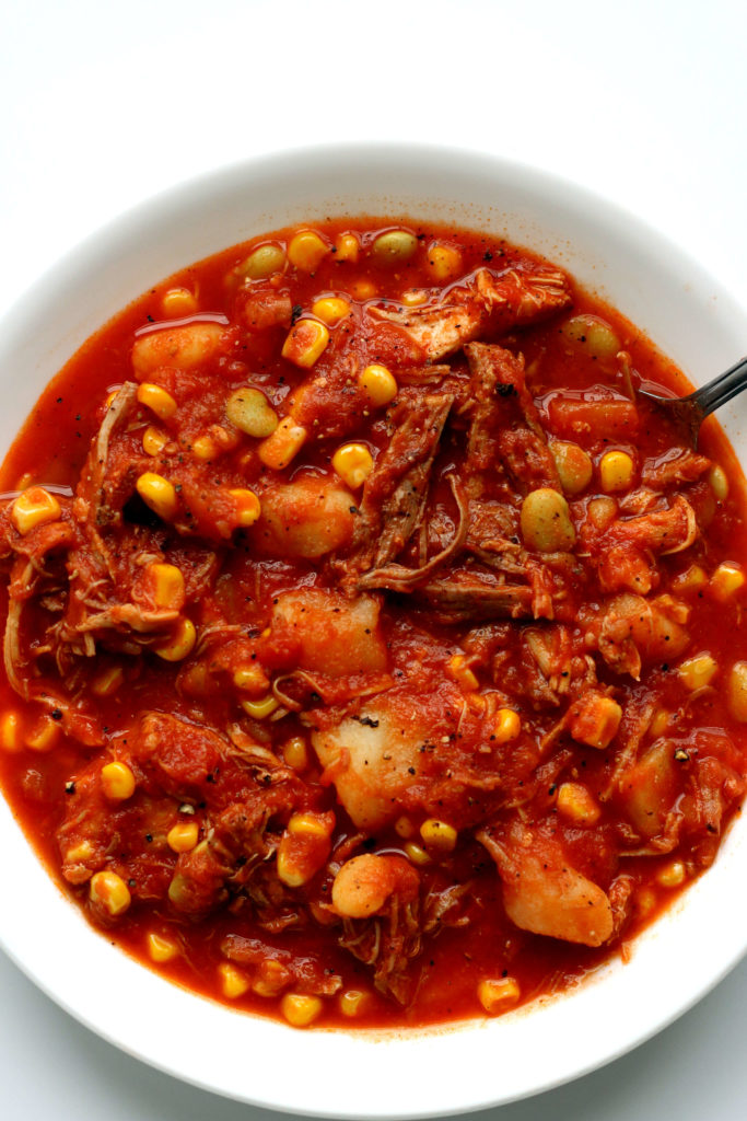 brunswick stew in a white bowl