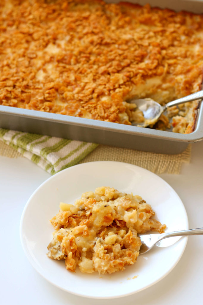 potatoes with a cornflake crust in a pan