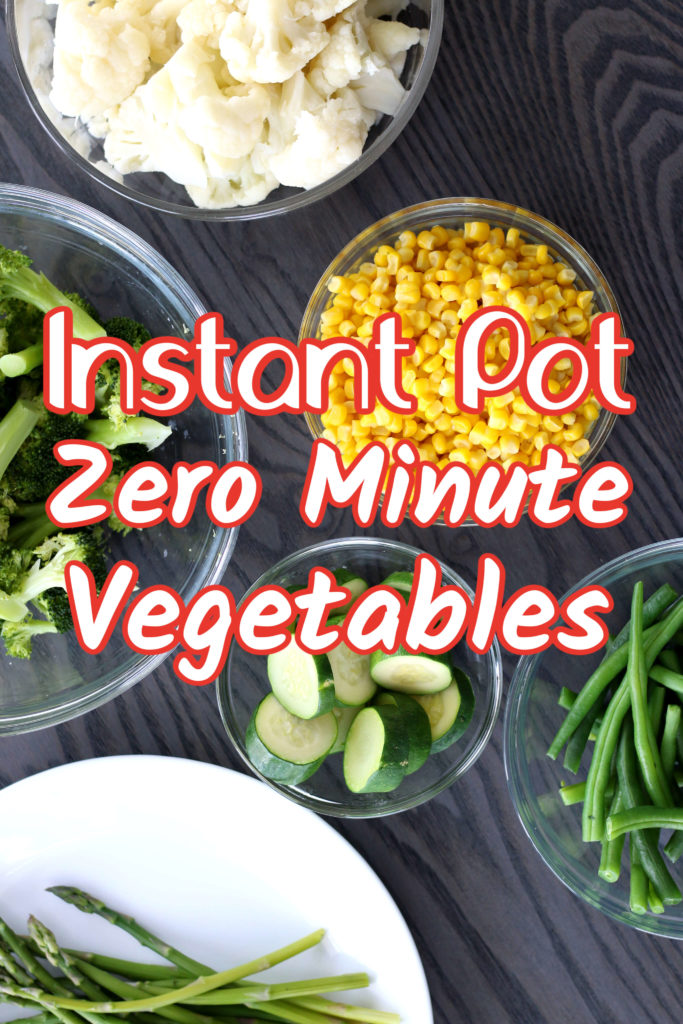 bowls of cauliflower, corn, green beans, zucchini, broccoli and asparagus