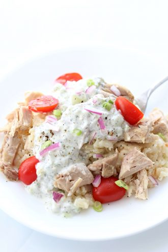 Instant Pot Smothered Greek Chicken and Rice