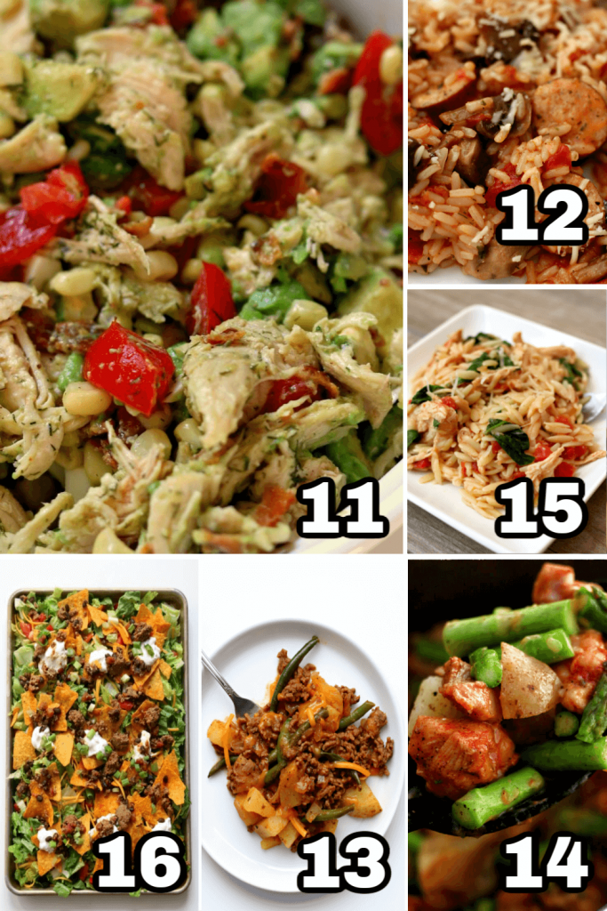 collage of one pot meals