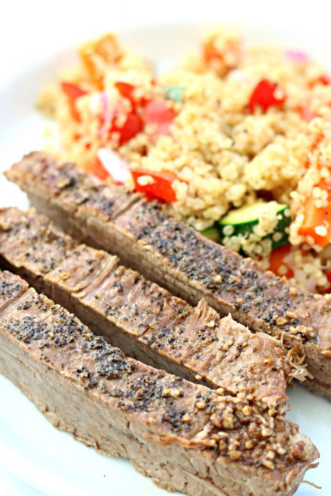 steak and quinoa