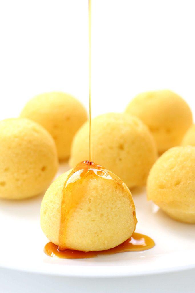 pancake bites with syrup