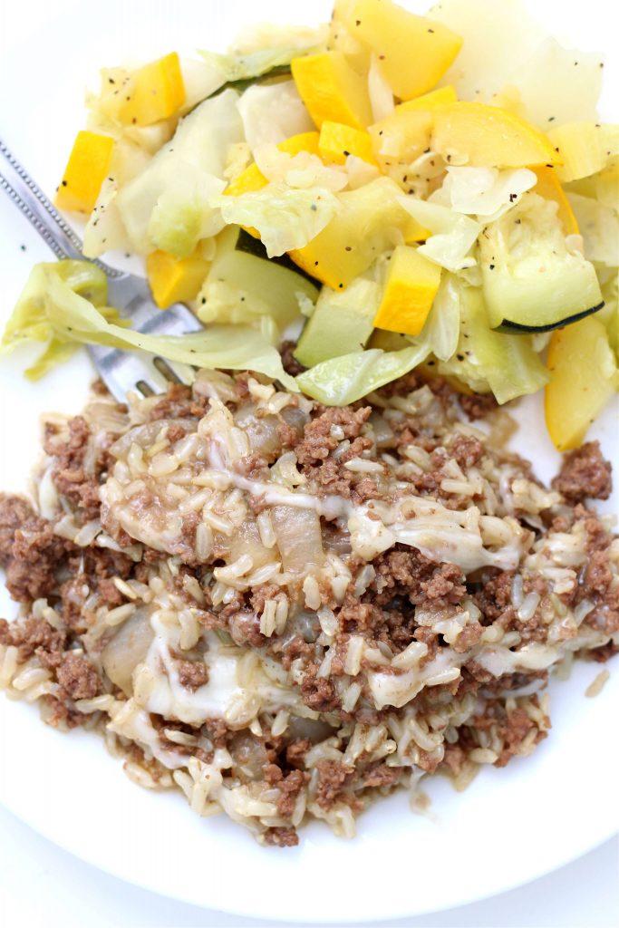 zucchini and beefy rice