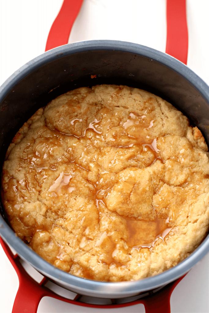 apple cobbler in a pan