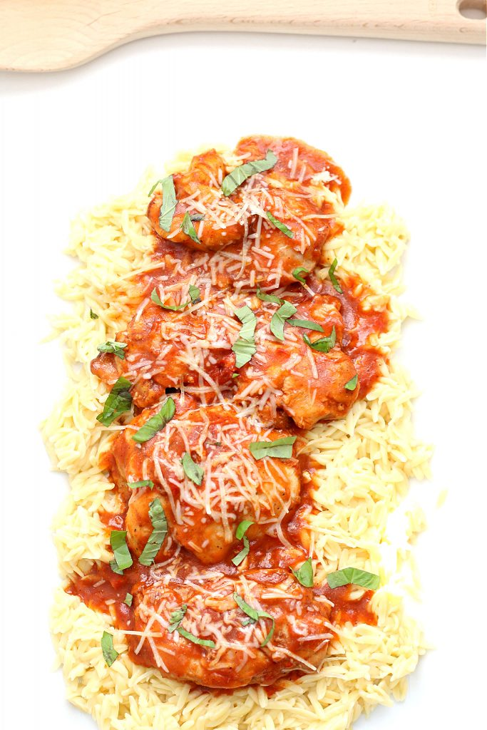 chicken, orzo and basil