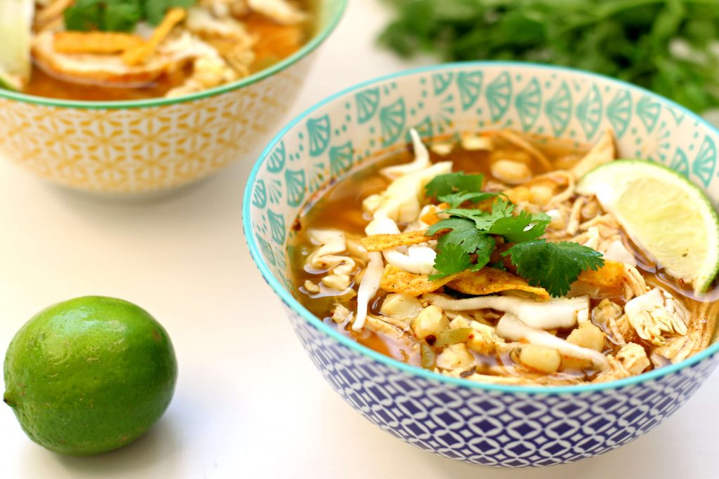 bowl of posole soup