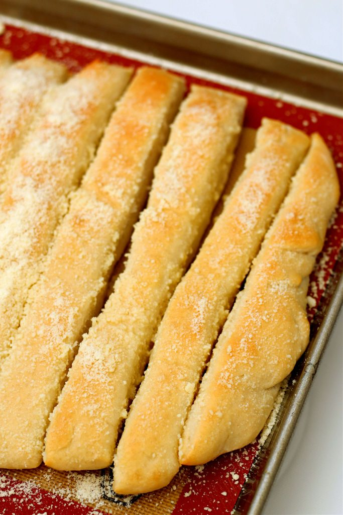 breadsticks crazy bread on a pan