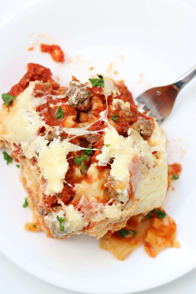 lasagna with ground beef, Italian sausage and pepperoni on a plate