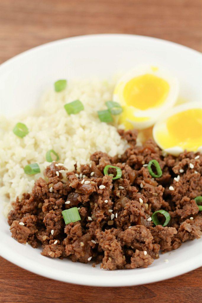 ground beef bulgogi with soft boiled egg and cauliflower rice